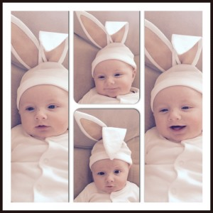 Four images of a young baby modelling a pair of white bunny ears with soft brown inners. He looks puzzled in one of the pictures, but is smiling in the other three!