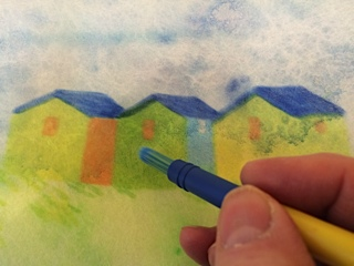 colouring in picture of beach huts