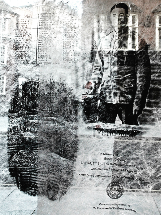 Black and white image of a soldier and records of fatalities.