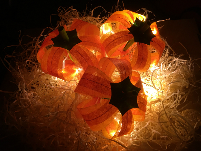 Three pumpkins photographed in the dark, resting on fine straw and illuminated with a string of battery lights.