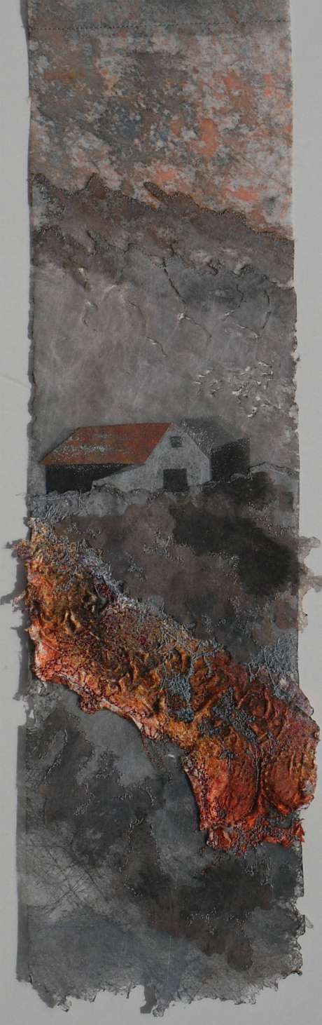 Tall narrow piece of artwork in various shades of grey, with single storey cottage in middle ground, and orange coloured relief section in foreground