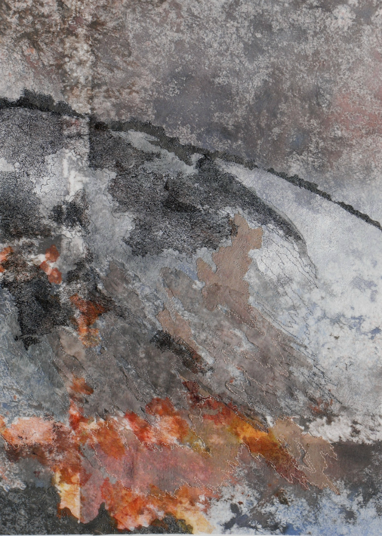 Abstract landscape with mixture of grey, orange and white tones. With one vertical and one horizontal line, which cross near the bottom left hand corner.