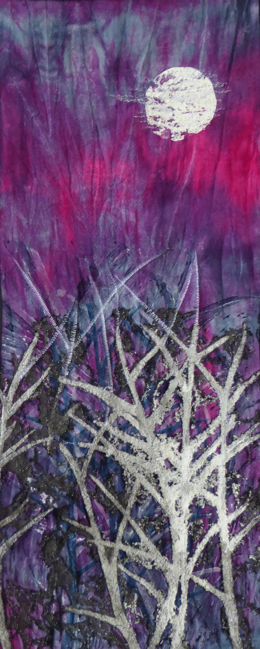 Frost covered undergrowth in shades of white, blue and grey, against mauve and crimson sky lit by a full moon.