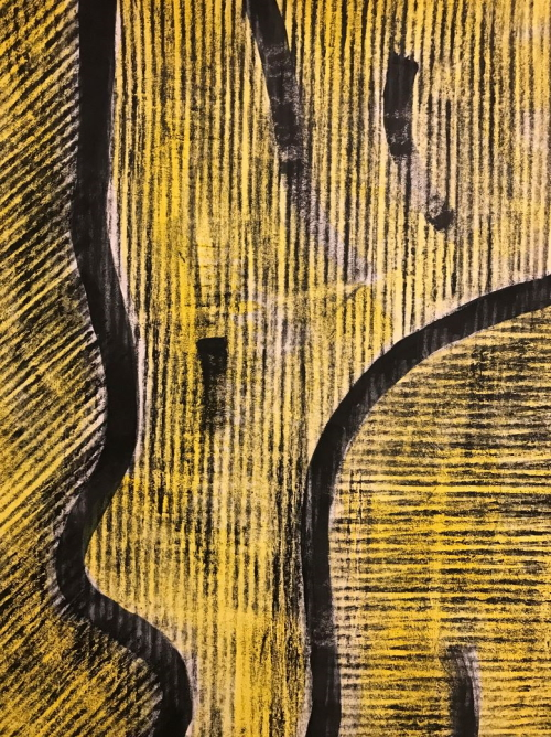 Close up image of a section of one of Karl's coloured pieces of Evolon, showing areas of regularly spaced vertical, horizontal and diagonal black lines across a yellow background, separated with broad black lines and curves.